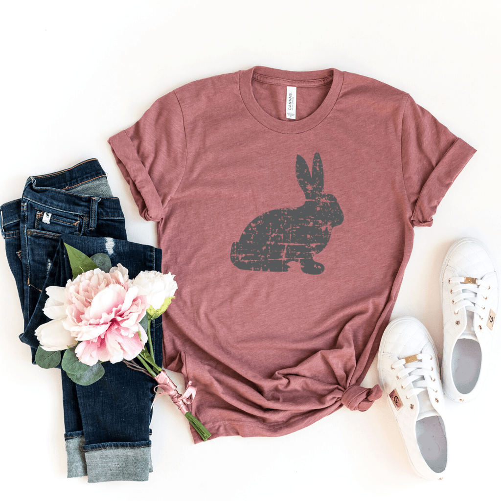 Distressed Bunny Shirt, Women's Easter Shirt, Easter Top, Ladies Easter Shirt, Easter Graphic Tee, Heather Mauve