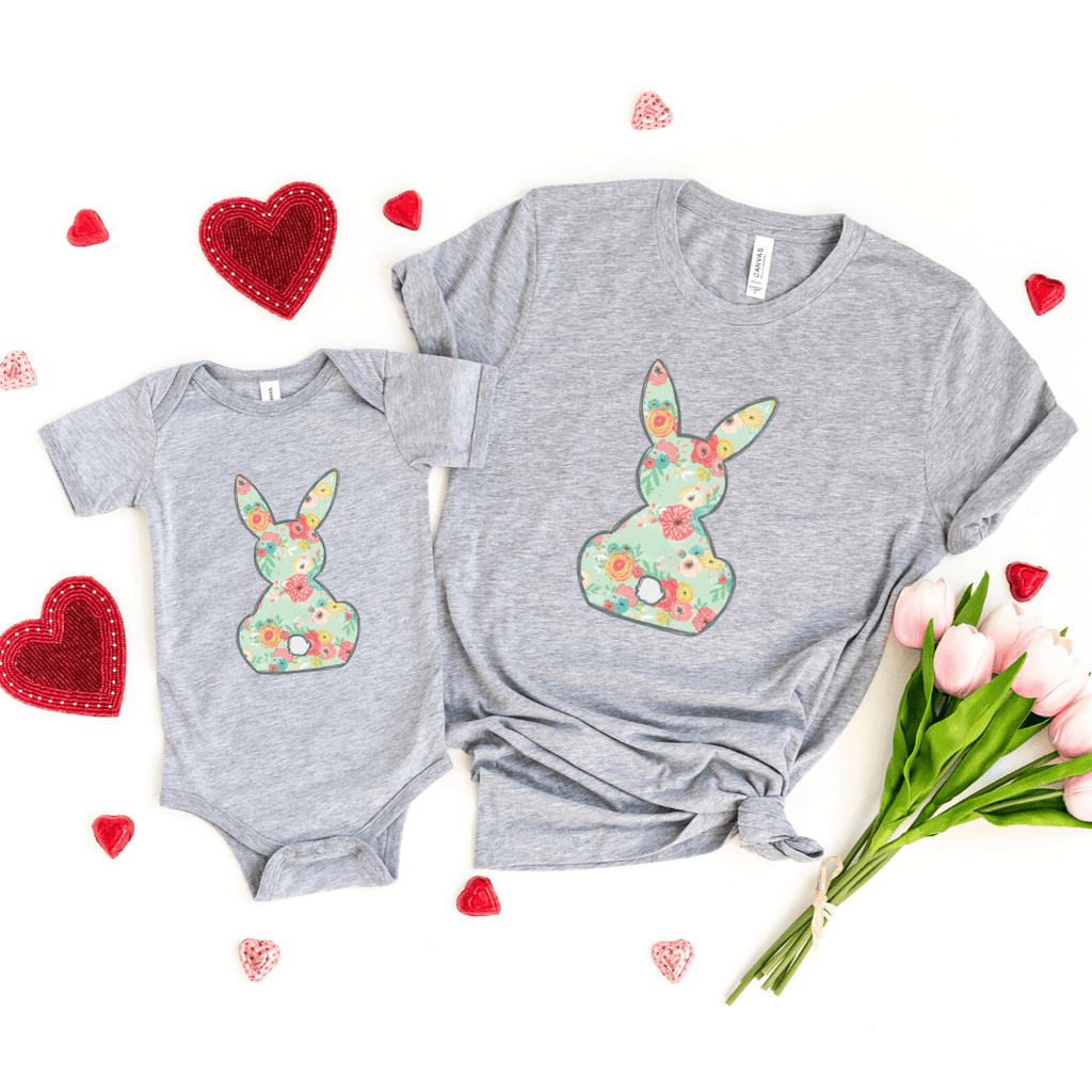 Floral Bunny Matching Shirt Set, Mommy And Me Shirt Set, Easter Shirt, Bunny Shirt, Spring, Mommy and Me, Easter Outfit, Athletic Heather