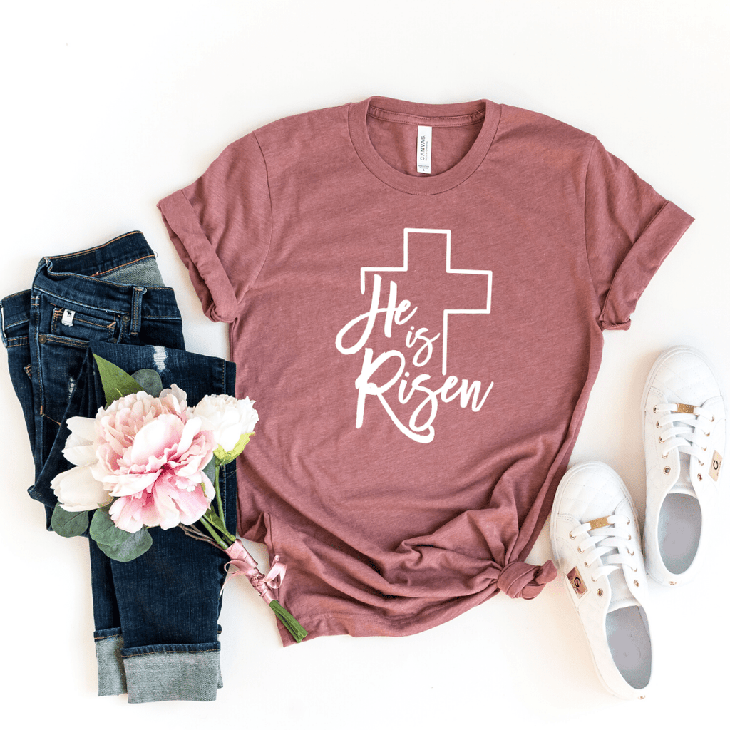 Easter Shirt, He Is Risen Shirt, Women's Easter Shirt, He Is Risen Indeed, Easter Top, Ladies Easter Shirt, Christian Easter Shirt, Cross, Heather Mauve