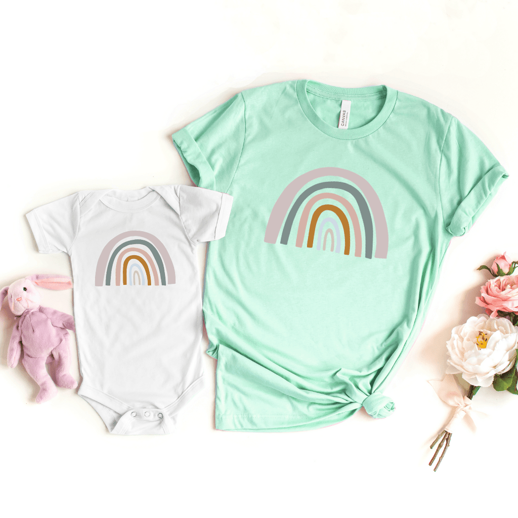 Mommy and Me Rainbow Shirts, Mother Daughter Matching Shirts, Mommy and Me Outfit, Rainbow Toddler Tee, Rainbow Baby Bodysuit, Heather Prism Mint