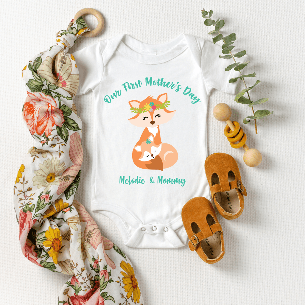 Our First Mothers Day Fox Personalized Bodysuit, first mothers day outfit baby girl, mothers day shirt for mom and daughters Fox Mothers Day Shirt, White
