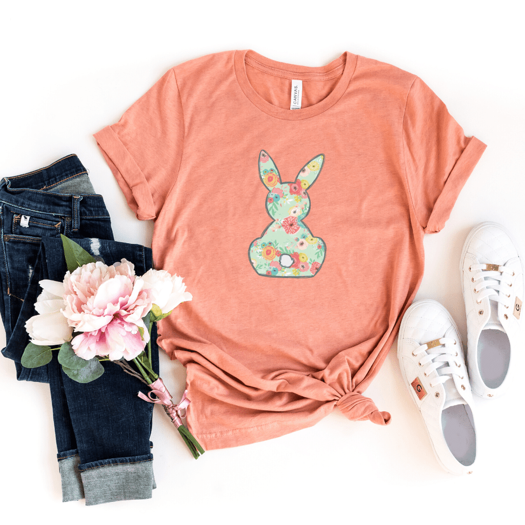Floral Bunny, Girls Easter Shirt, Easter Shirt, Floral Bunny Shirt, Easter Outfit, Heather Prism Sunset