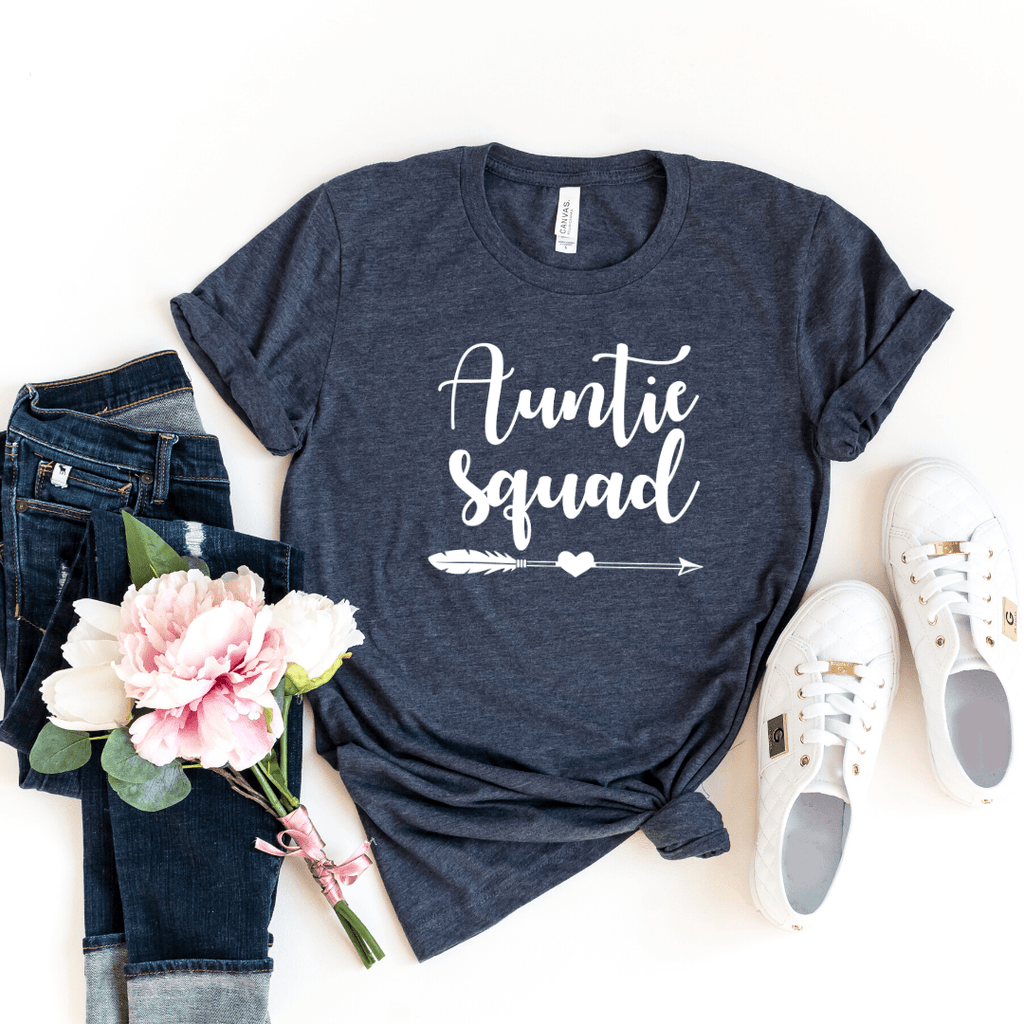 Auntie Squad Shirt, Funny Auntie Shirt, Auntie T-shirt, Auntie Gift, Funny Aunt Shirt, Aunt Gift, Mother's Day Gift, Birthday Gift, Pregnancy Announcement Baby Shower, Heather Navy