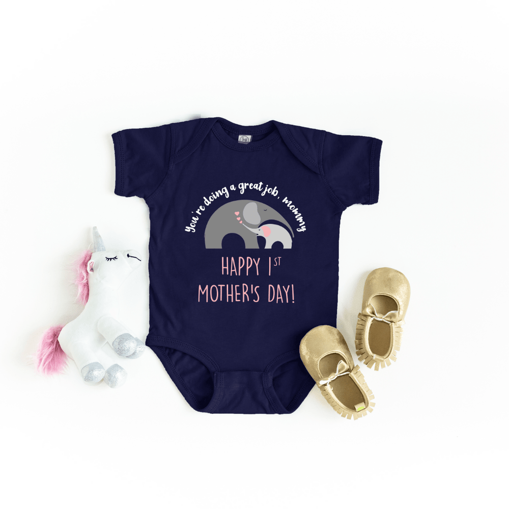Our First Mother's Day baby bodysuit, Cute Personalized Mother's Day baby bodysuit, Elephant Baby Mother baby bodysuit, Happy Mothers Day baby bodysuit, Best Mama shirt, Navy