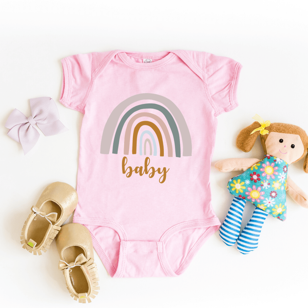 Rainbow Mommy and Me Shirt Rainbow Baby Bodysuit Mama Shirt Rainbow Mom Shirt Neutral Rainbow Tee Mother's Day Shirt Gift