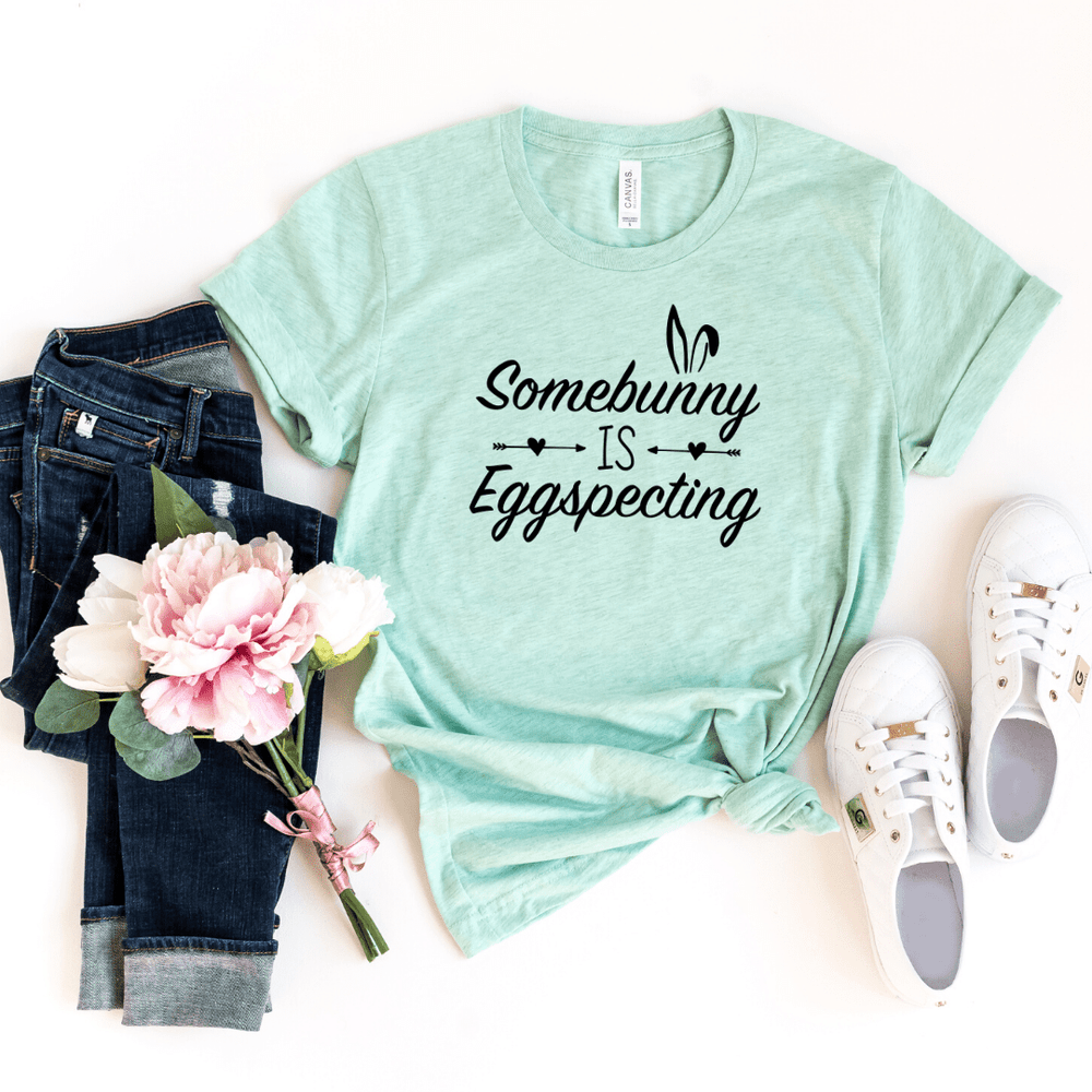Arrow Some Bunny is Eggspecting! Funny Easter Pregnancy Shirt Mom to be Pregnancy Unisex Baby Shower Gift Pregnancy and Mommy to be Outfit