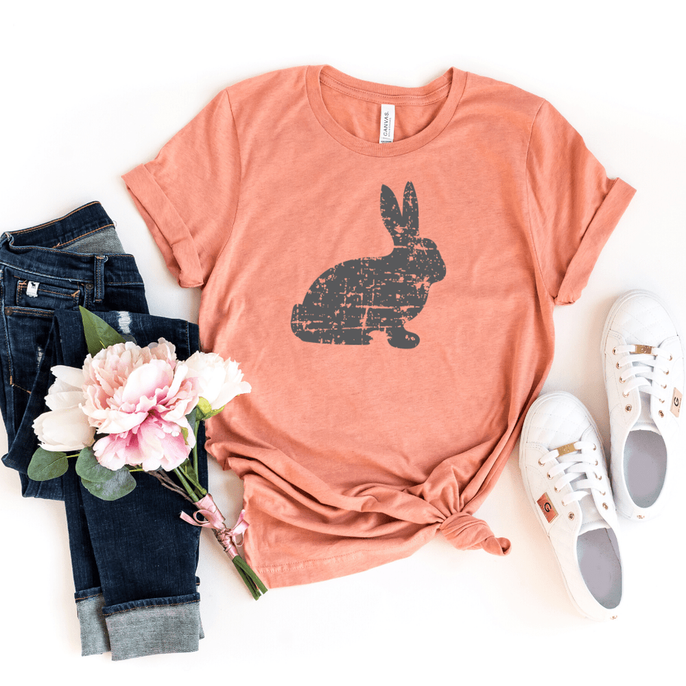 Distressed Bunny Shirt, Women's Easter Shirt, Easter Top, Ladies Easter Shirt, Easter Graphic Tee, Heather Prism Sunset