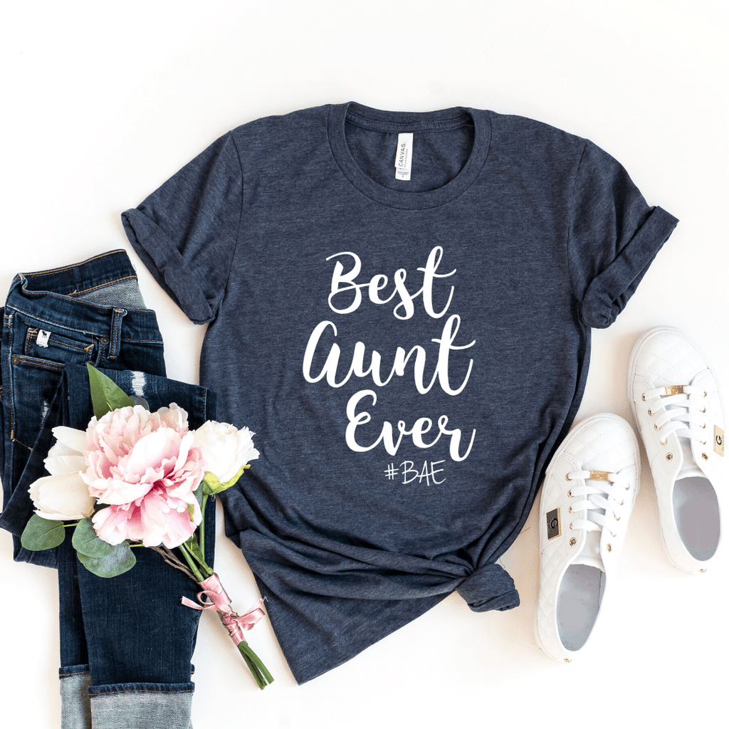 BAE Best Aunt Ever Shirt, Aunt Shirt, New Aunt, Christmas Gift for Aunt, Auntie, Aunt To Be Shirt, Favorite Aunt, Like a Mom Only Cooler, Heather Navy