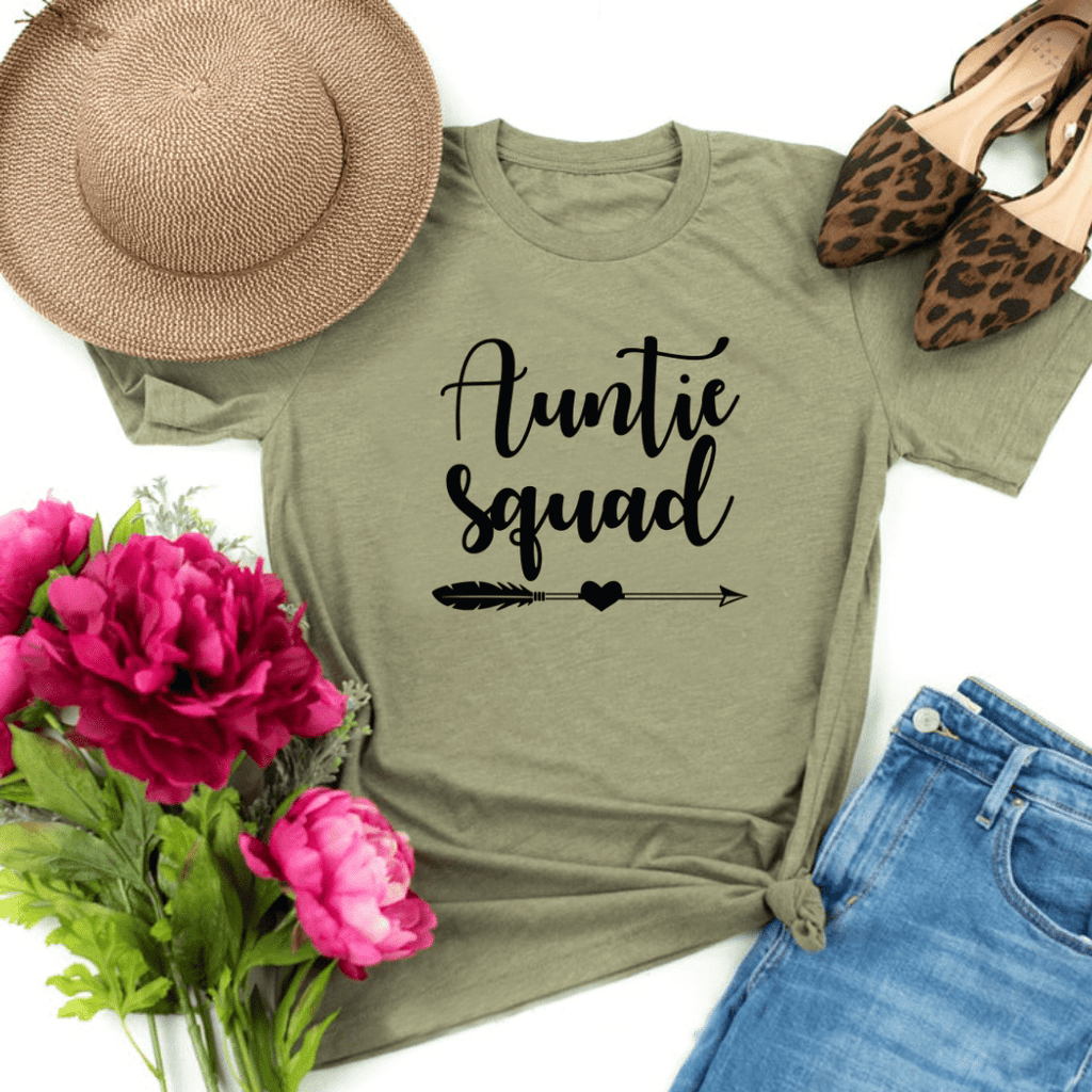 Auntie Squad Shirt, Funny Auntie Shirt, Auntie T-shirt, Auntie Gift, Funny Aunt Shirt, Aunt Gift, Mother's Day Gift, Birthday Gift, Pregnancy Announcement Baby Shower, Heather Olive