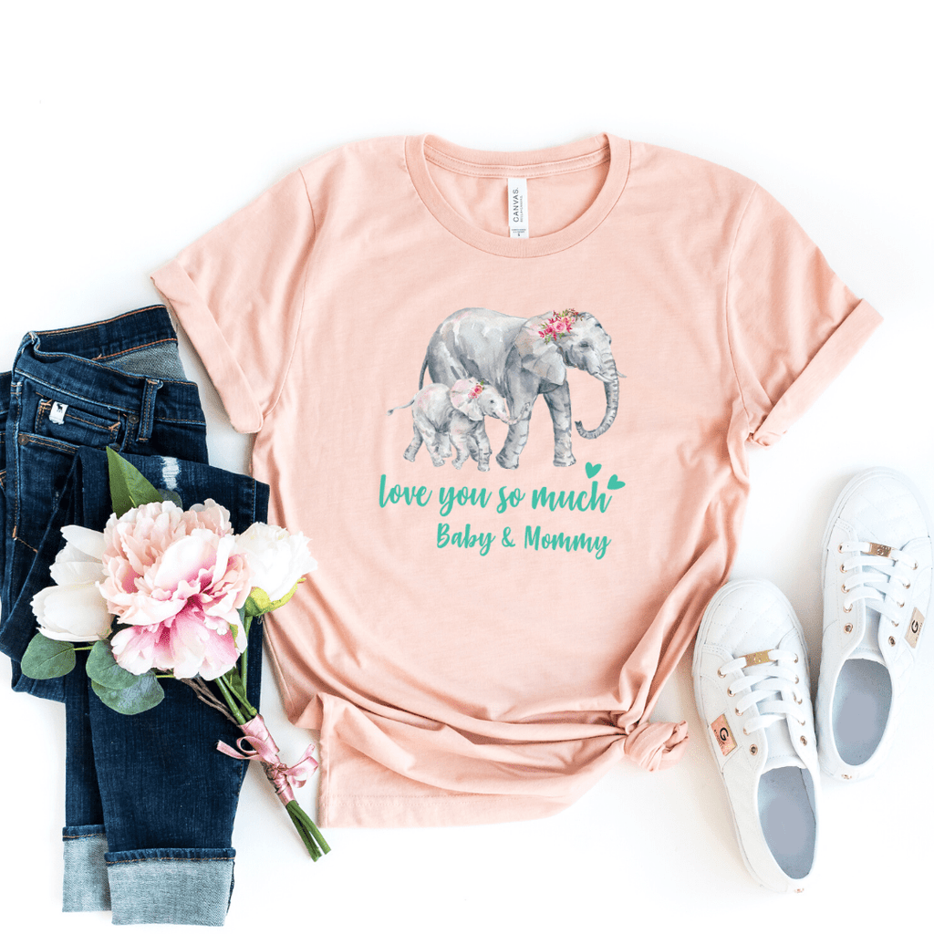 Mommy and Me outfits Shirt Set Mama Elephant Baby Shirts Mother and Daughter Shirts Mothers Day Shirts Mothers Day shirt for mom, Heather Peach