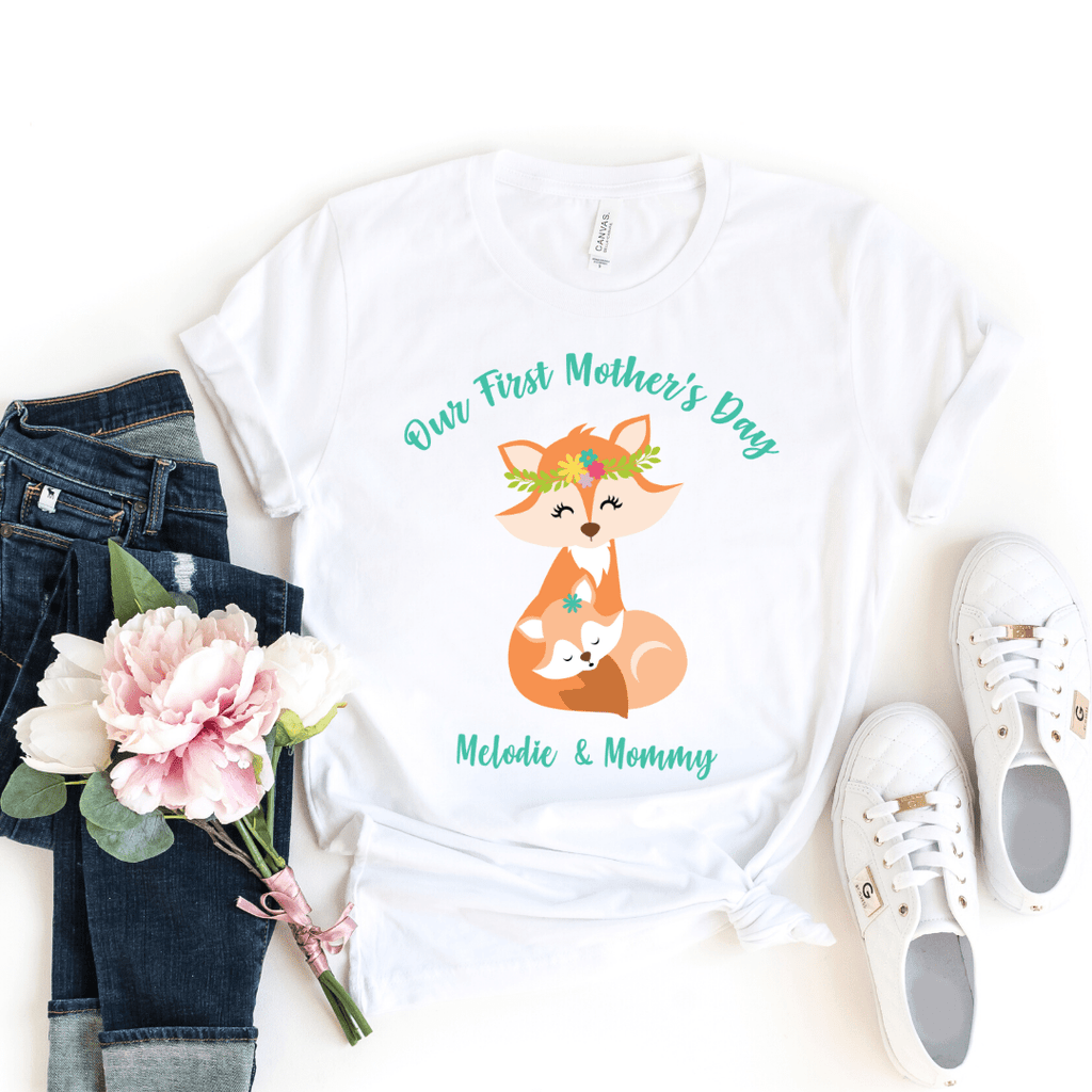 Our First Mothers Day Fox Personalized Bodysuit, first mothers day outfit baby girl, mothers day shirt for mom and daughters Fox Mothers Day Shirt