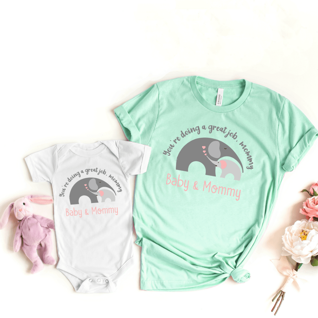 Mommy and Me outfits Mama Baby Cute Shirt Mother's Day Shirt bodysuit Boho Elephant Baby Shirt for Mom and Girl Best Mama shirt, Heather Prism Mint