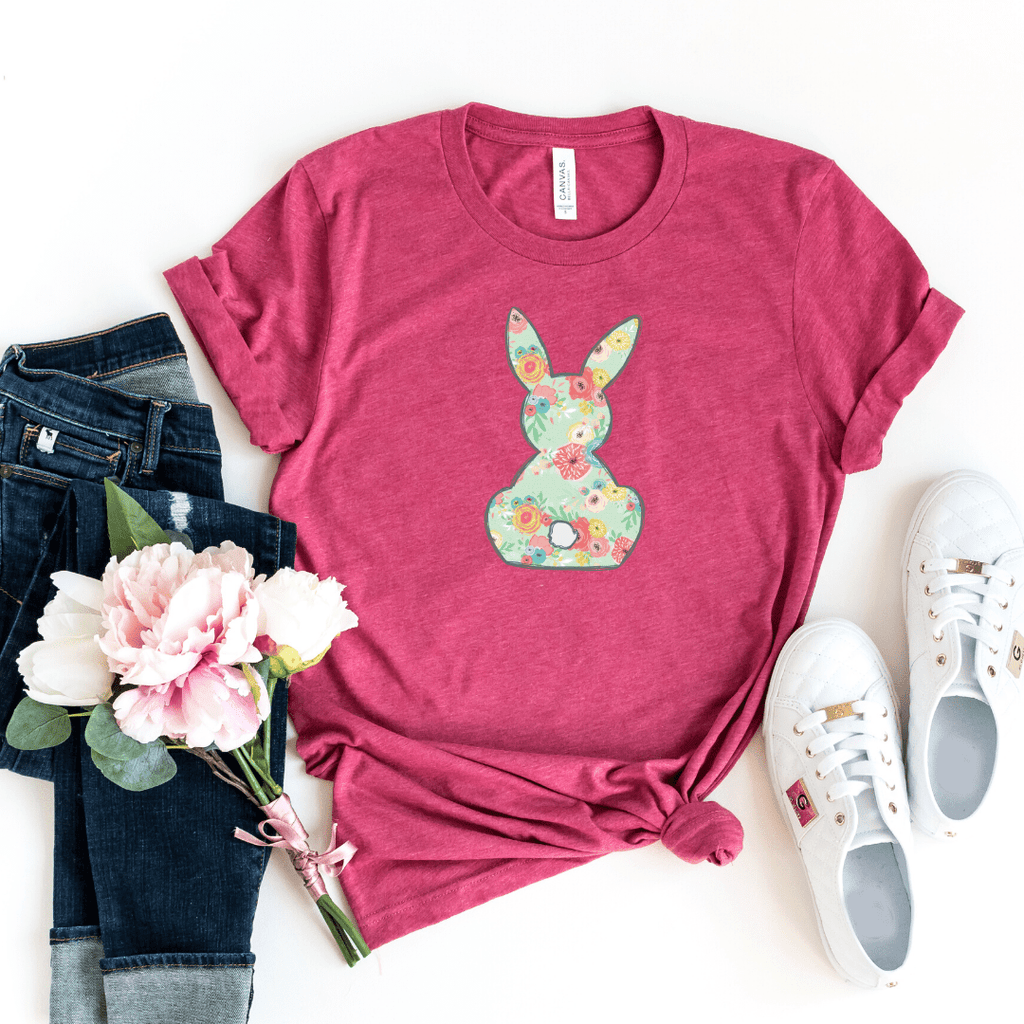 Floral Bunny, Girls Easter Shirt, Easter Shirt, Floral Bunny Shirt, Easter Outfit, Heather Raspberry