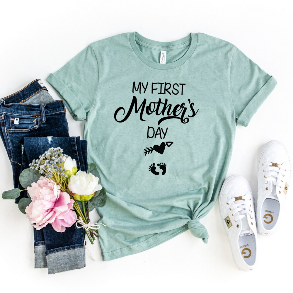 My First Mother Day Arrow Shirt First Mothers Day Shirt Mom to be Pregnancy Shirt Baby Shower Gift Pregnancy and Mommy to be Outfits, Heather Prism Dusty Blue