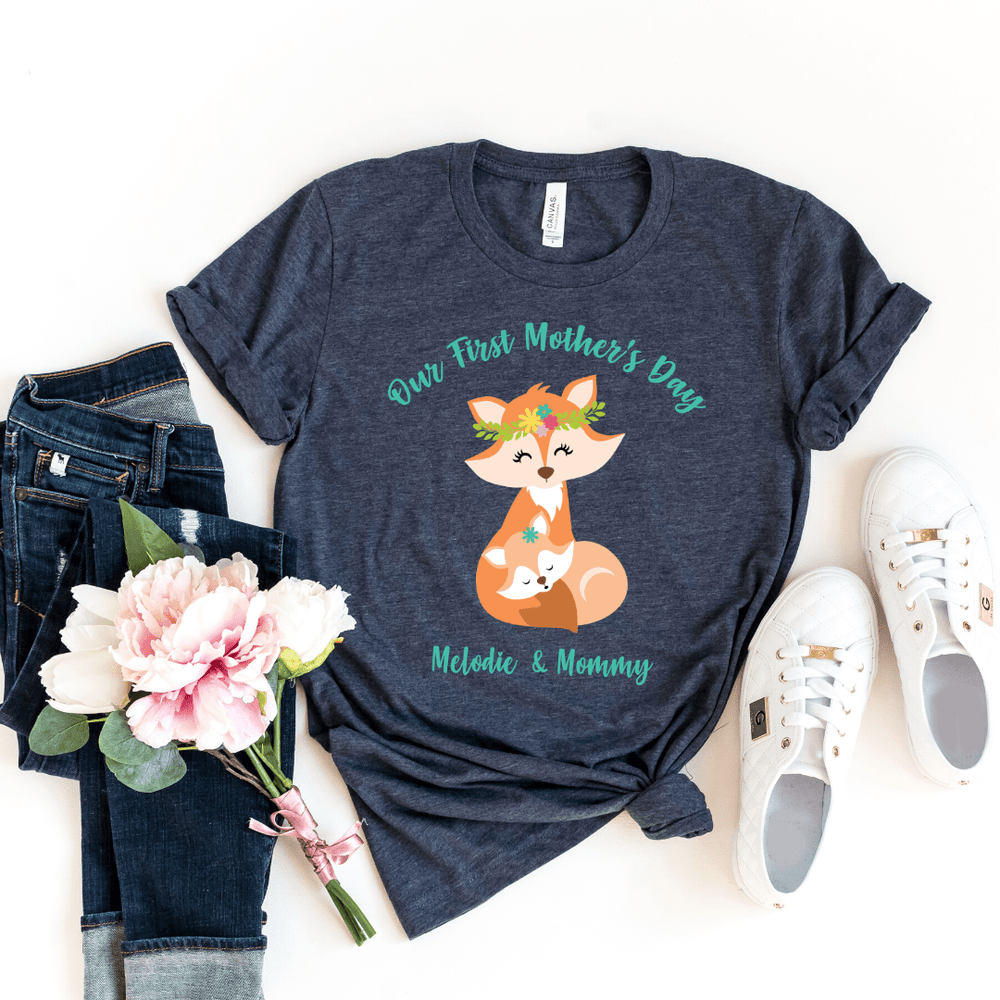 Our First Mothers Day Fox Personalized Bodysuit, first mothers day outfit baby girl, mothers day shirt for mom and daughters Fox Mothers Day Shirt, Heather Navy