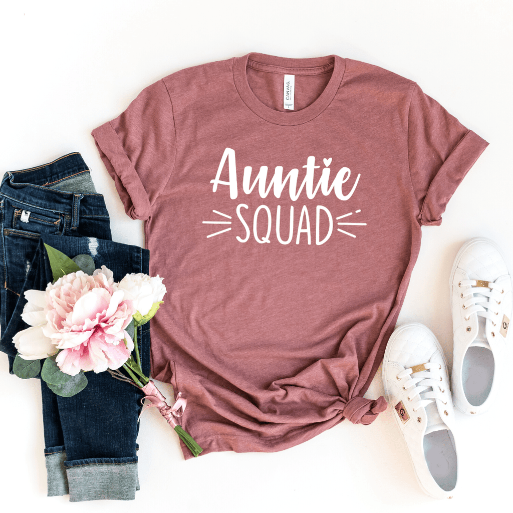 Auntie Squad Shirt, Christmas Gift for Aunt, Aunt To Be Shirt, New Aunt Shirt, Pregnancy Announcement Shirt, Baby Annoucement Shirt, BAE, Heather Mauve