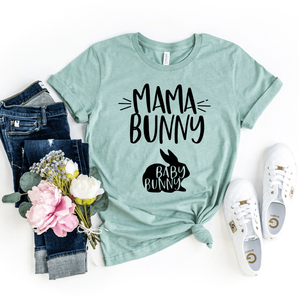 Mama Bunny and Baby Bunny Funny Easter Pregnancy Shirt, Mom to be, Pregnancy Unisex Baby Shower Gift, Pregnancy and Mommy to be Outfit, Heather Prism Dusty Blue