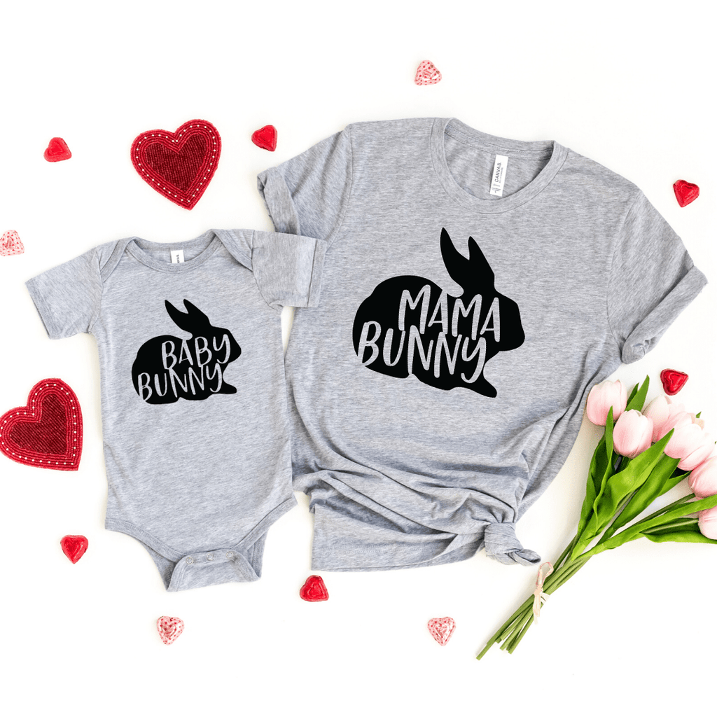 Mama Bunny, Baby Bunny, Mommy And Me Shirt Set, Easter Mommy and Me Shirts, Bunny Shirt, Spring, Easter Outfit, Family Matching Easter Shirt, Light Gray