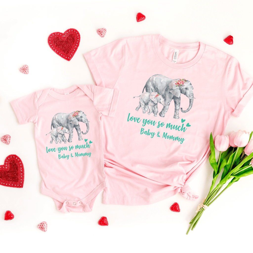 Mommy and Me outfits Shirt Set Mama Elephant Baby Shirts Mother and Daughter Shirts Mothers Day Shirts Mothers Day shirt for mom, Pink