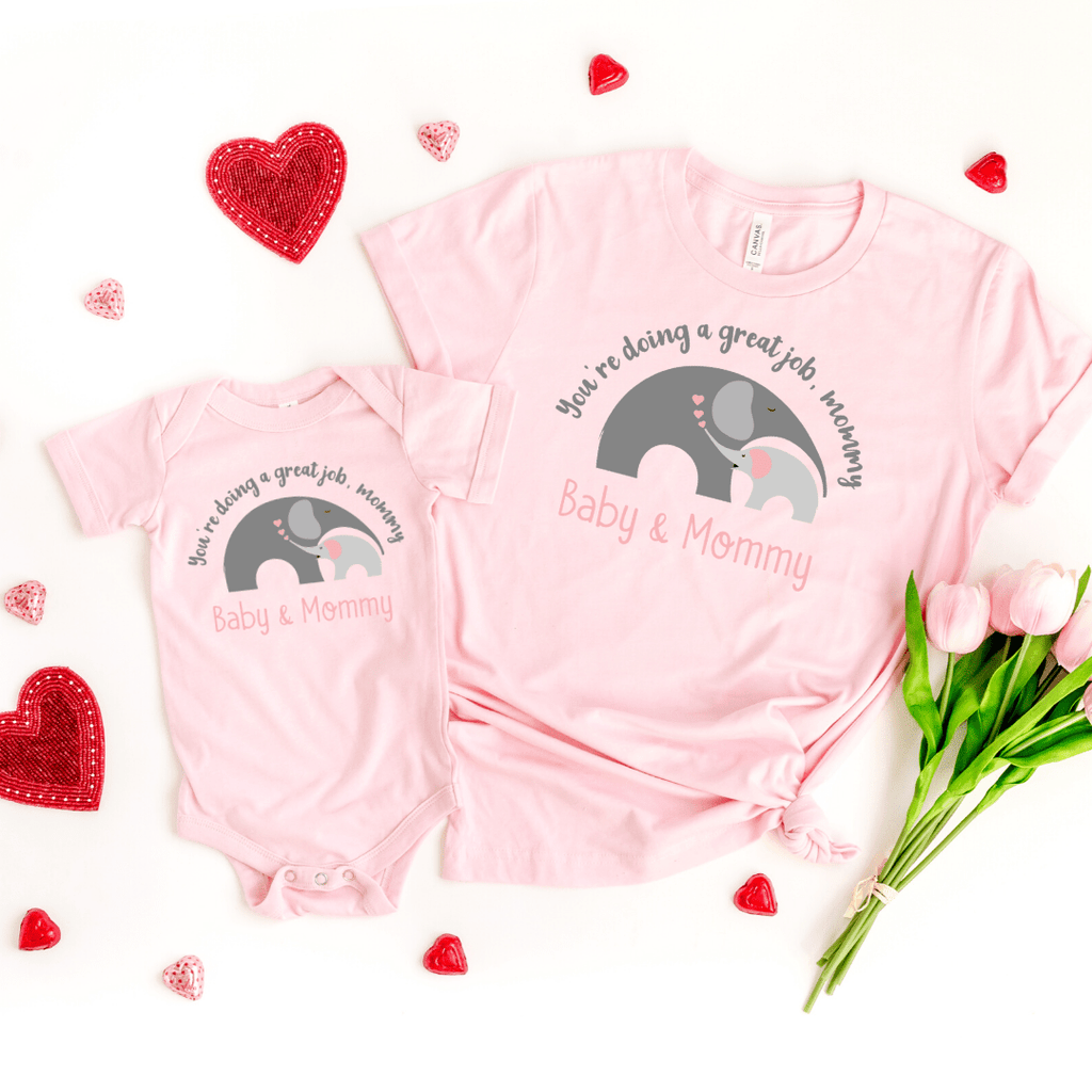 Mommy and Me outfits Mama Baby Cute Shirt Mother's Day Shirt bodysuit Boho Elephant Baby Shirt for Mom and Girl Best Mama shirt, Pink