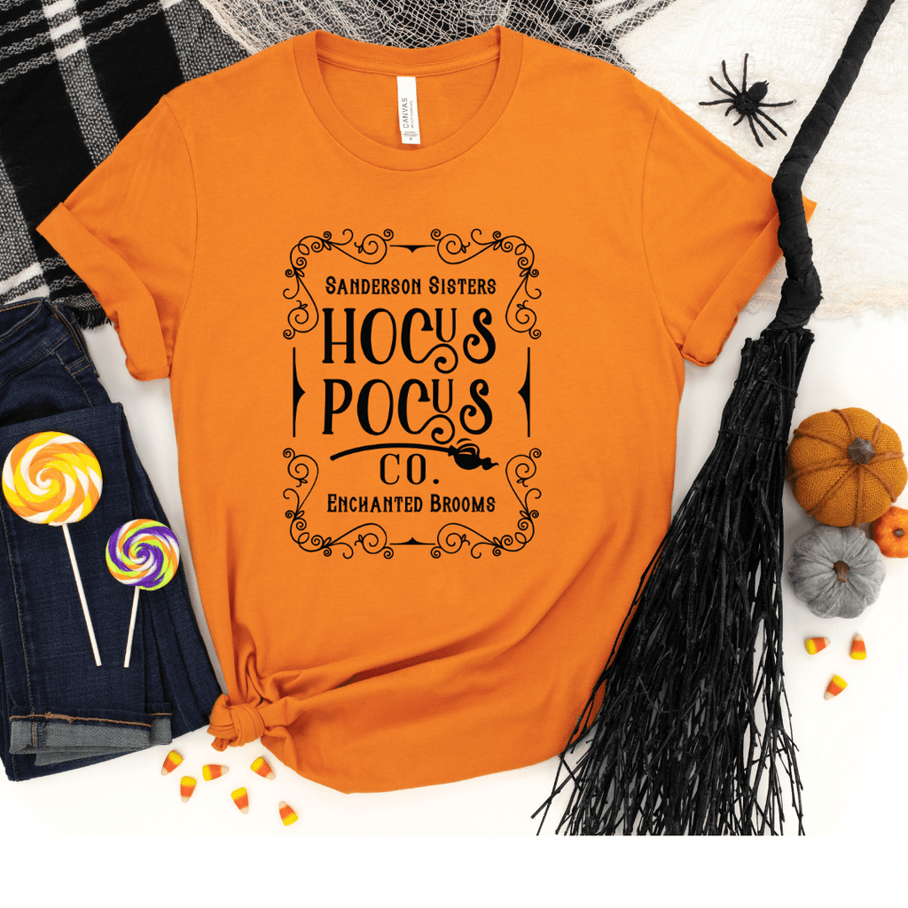 Hocus Pocus Co Shirt Halloween Shirts Hocus Pocus T-shirts Halloween T-shirt For Women Sanderson Sister Shirt, Orange