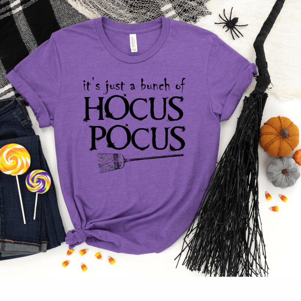 Its Just A Bunch Of Hocus Pocus, Hocus Pocus Shirt, Hocus Pocus Tshirt, Halloween Shirt, Halloween Tshirt, Fall Shirts, Fall Tshirt, Heather Team Purple