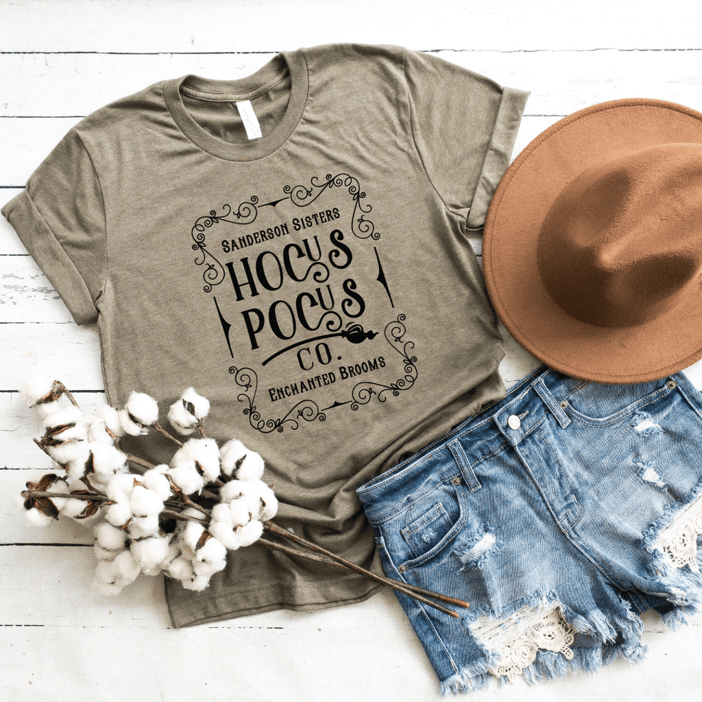 Hocus Pocus Co Shirt Halloween Shirts Hocus Pocus T-shirts Halloween T-shirt For Women Sanderson Sister Shirt, Heather Olive
