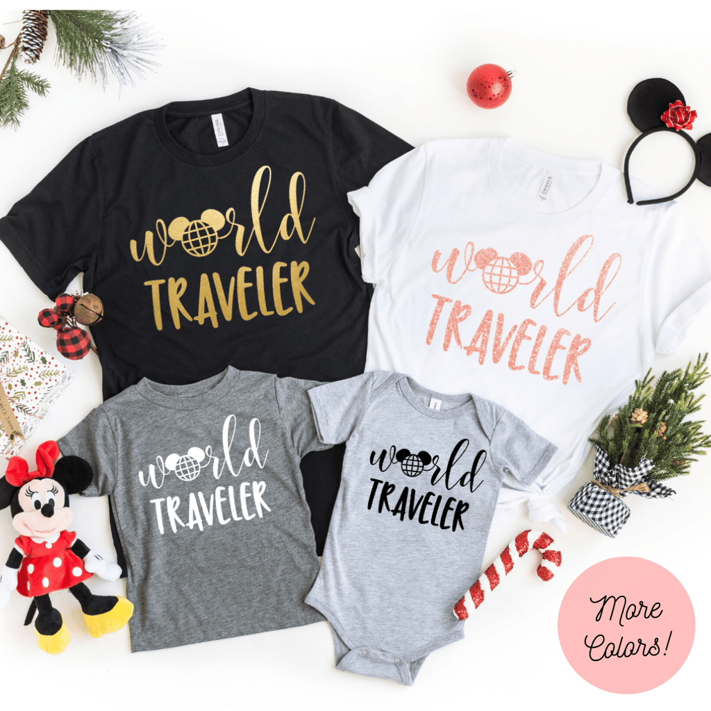 World Traveler Shirt, Disney Epcot Shirts, Disney Ear Shirt, Women's Minnie Shirt, Matching Disney Tops, Disney Vacation Tanks, Disney Trip