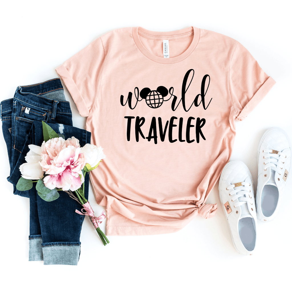 World Traveler Shirt, Disney Epcot Shirts, Disney Ear Shirt, Women's Minnie Shirt, Matching Disney Tops, Disney Vacation Tanks, Disney Trip, Heather Peach