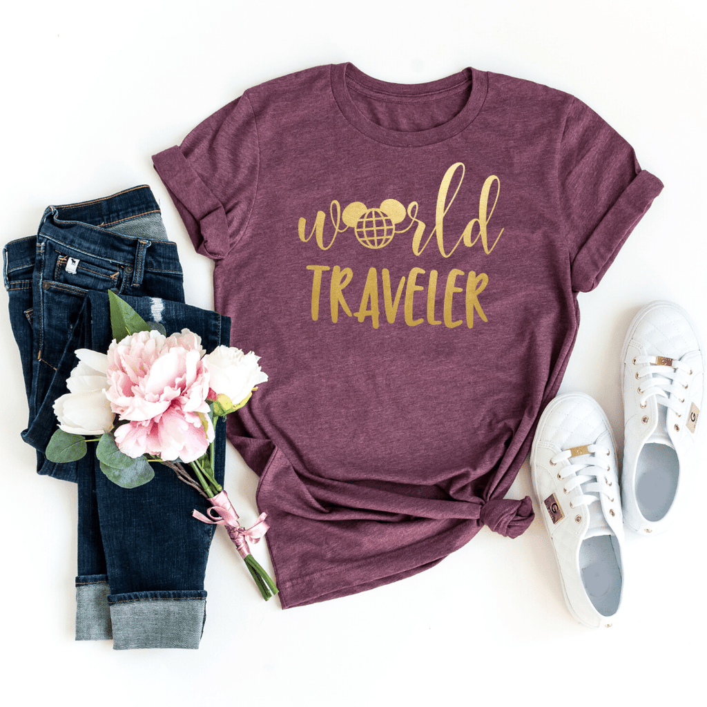 World Traveler Shirt, Disney Epcot Shirts, Disney Ear Shirt, Women's Minnie Shirt, Matching Disney Tops, Disney Vacation Tanks, Disney Trip, Heather Maroon