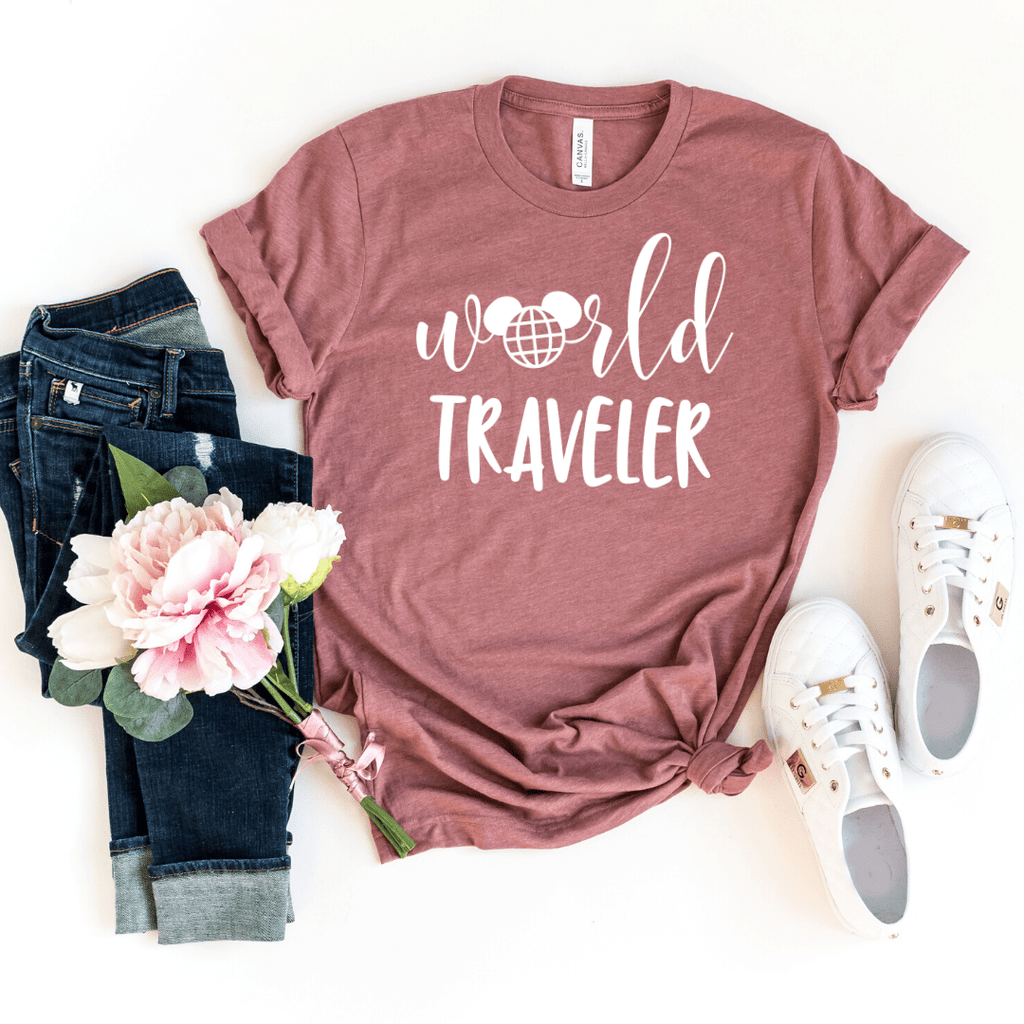 World Traveler Shirt, Disney Epcot Shirts, Disney Ear Shirt, Women's Minnie Shirt, Matching Disney Tops, Disney Vacation Tanks, Disney Trip, Heather Mauve