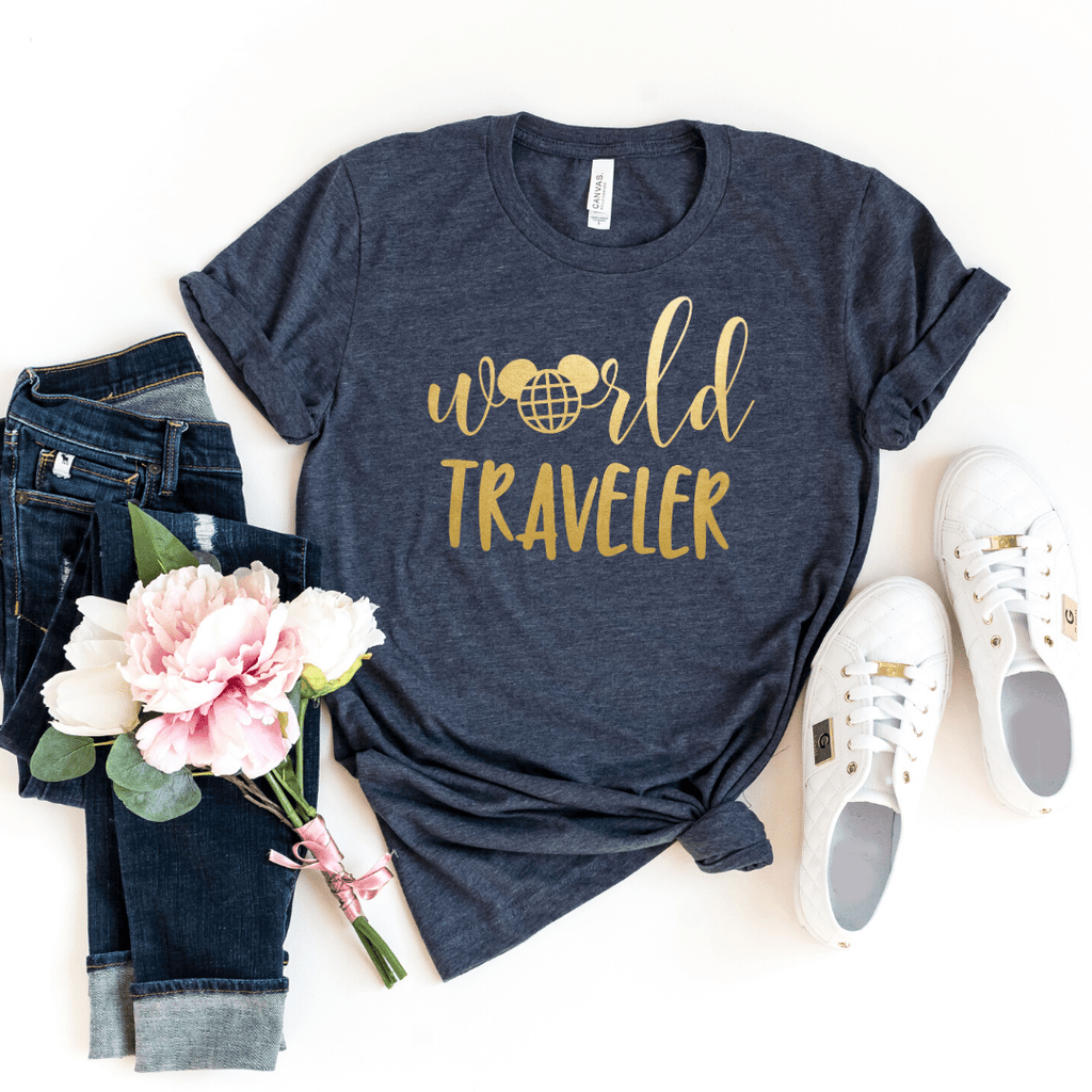 World Traveler Shirt, Disney Epcot Shirts, Disney Ear Shirt, Women's Minnie Shirt, Matching Disney Tops, Disney Vacation Tanks, Disney Trip, Heather Navy
