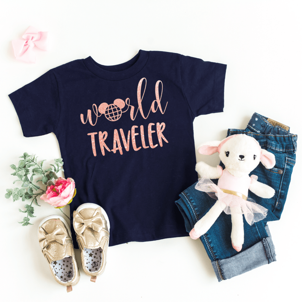 World Traveler Shirt, Disney Epcot Shirts, Disney Ear Shirt, Women's Minnie Shirt, Matching Disney Tops, Disney Vacation Tanks, Disney Trip, Navy