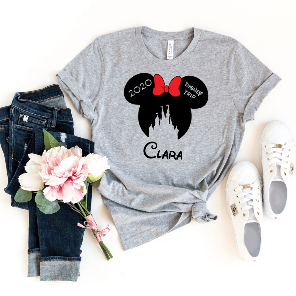 Disney Shirts 2020, Disney Ear Shirts, Disney Castle Shirt, Disney Minnie Mickey Shirt, Minnie Me Shirt, Family Trip Matching Outfit, Custom, Light Gray