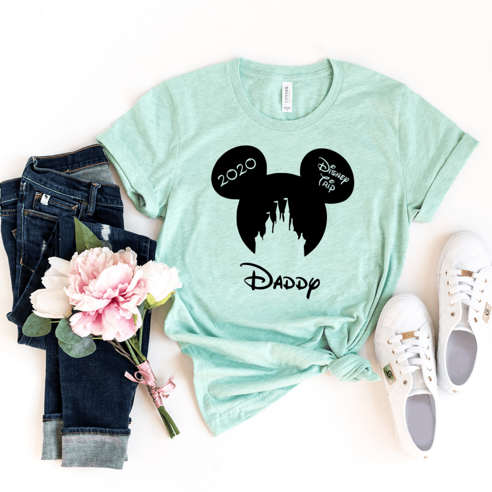 Disney Shirts 2020, Disney Ear Shirts, Disney Castle Shirt, Disney Minnie Mickey Shirt, Minnie Me Shirt, Family Trip Matching Outfit, Custom, Heather Prism Mint