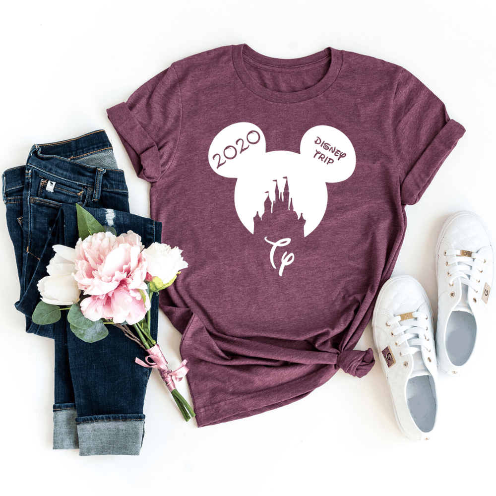 Disney Shirts 2020, Disney Ear Shirts, Disney Castle Shirt, Disney Minnie Mickey Shirt, Minnie Me Shirt, Family Trip Matching Outfit, Custom, Heather Maroon