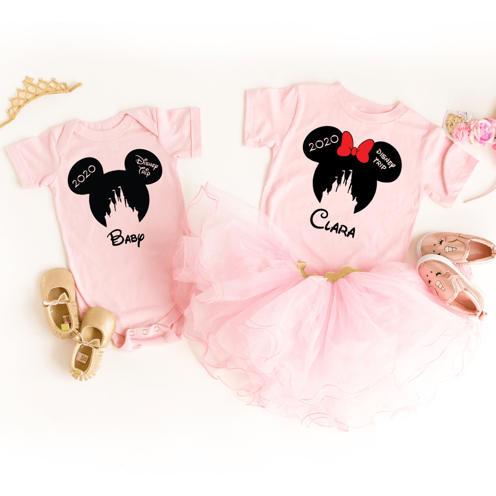 Disney Shirts 2020, Disney Ear Shirts, Disney Castle Shirt, Disney Minnie Mickey Shirt, Minnie Me Shirt, Family Trip Matching Outfit, Custom, Pink