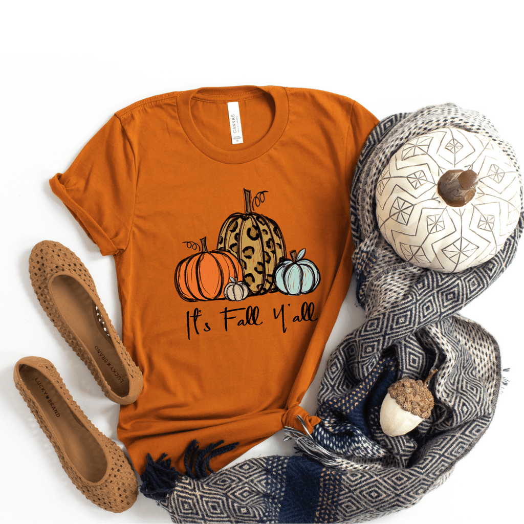 It's Fall Ya'll Shirt Fall Tshirt Cute Fall Graphic Tees Autumn Shirt Thanksgiving Shirt Pumpkin Fall Shirts