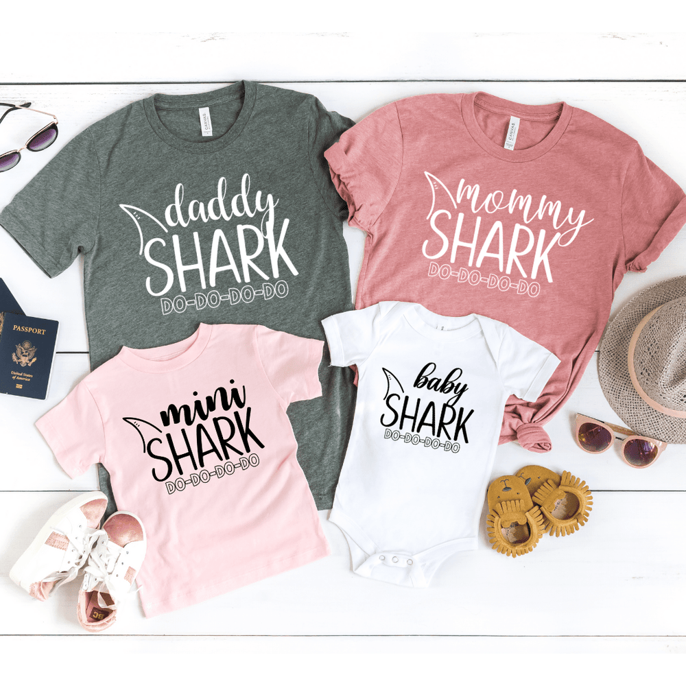 Matching Family Baby Shark shirts Shark theme birthday shirts Mommy Daddy Baby Shark DO DO DO Mama Papa Grandma Shark outfits Baby Shark shirt for toddler