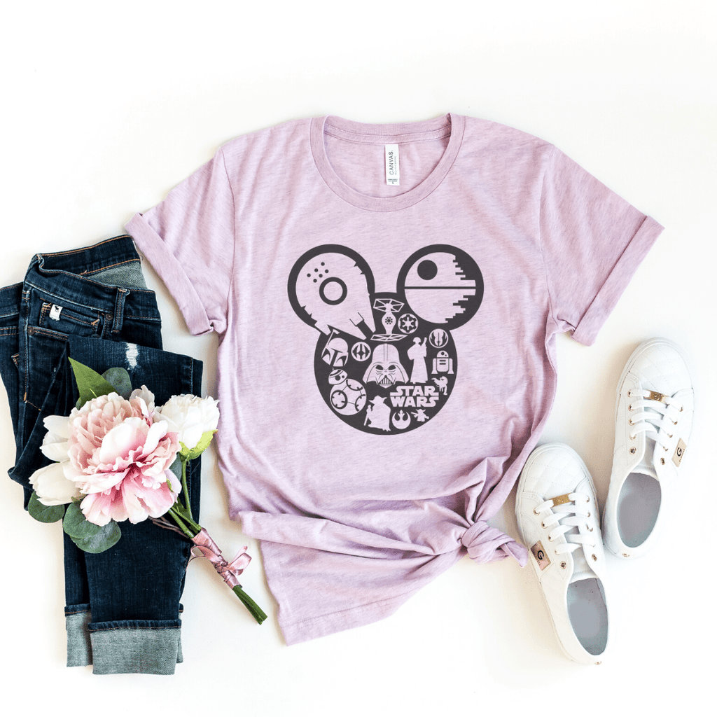 Star Wars Shirt, galaxy's edge shirt, Disney Shirt, Mickey shirt, Disney Shirt, Star Wars Disney Shirts, Family Disney Shirts, galaxy edge, Heather Prism Lilac