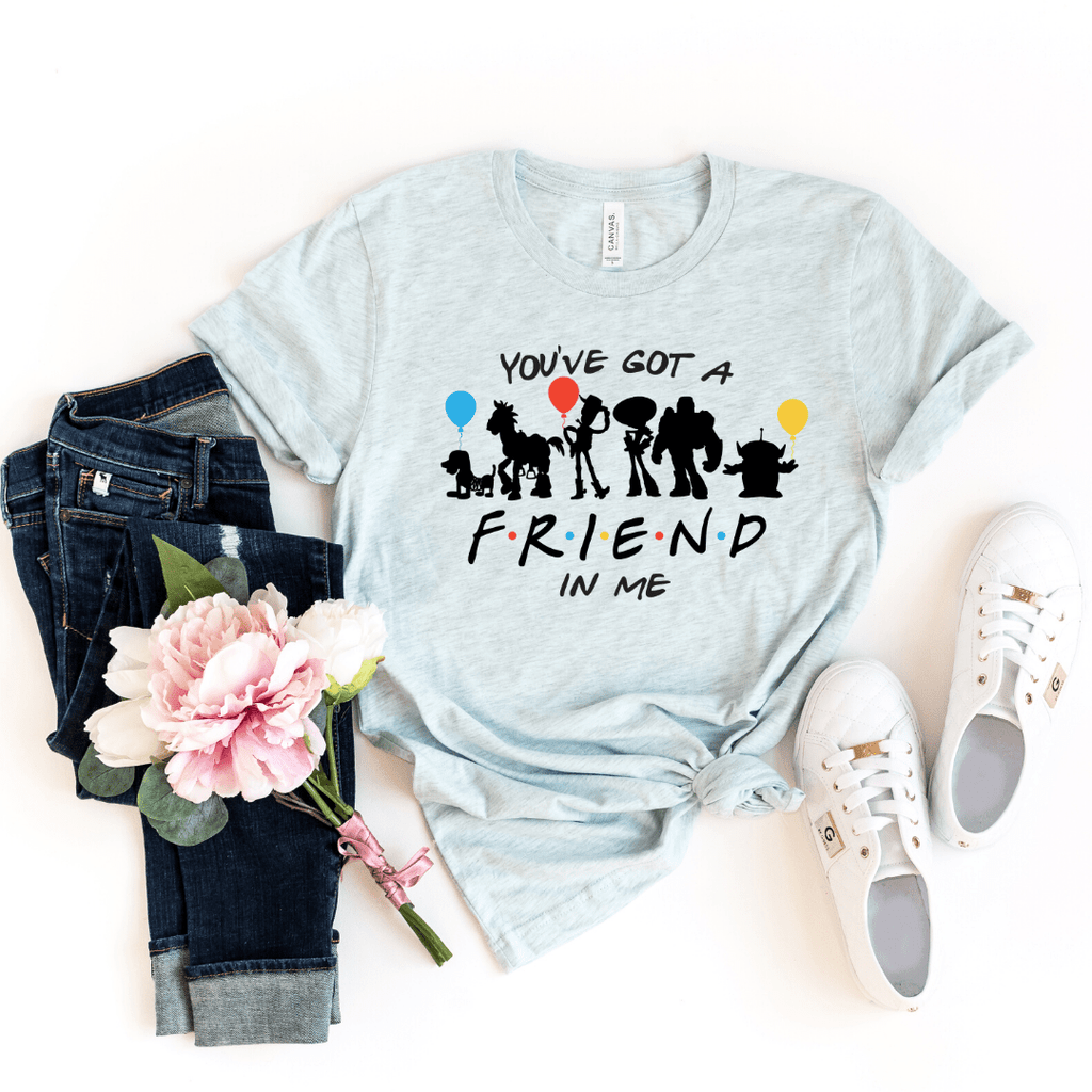 You've got a friend in me Toy Story shirt , Disney Shirt for Women, Disney Family Shirt, Matching T Shirts, Friends Mash up, Heather Ice Blue