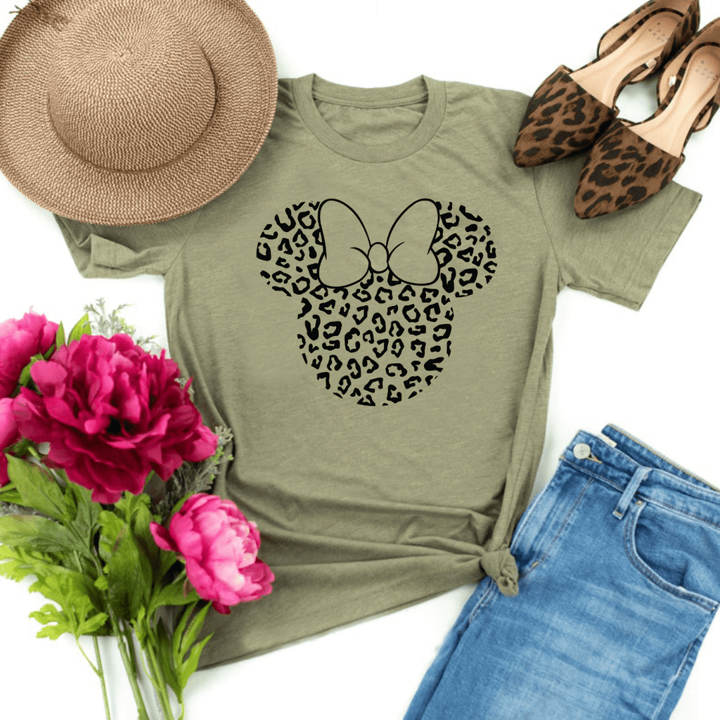 Disney Black Print Leopard, Disney Family Shirt, Minnie Shirt, Cheetah Minnie Mickey Shirt, Animal Kingdom shirt, Safari Shirt, Disney women's shirt, Disney Style Shirt, Heather Olive