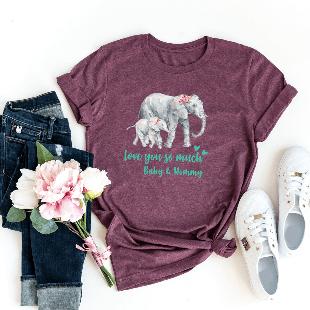 Mommy and Me outfits Shirt Set Mama Elephant Baby Shirts Mother and Daughter Shirts Mothers Day Shirts Mothers Day shirt for mom, Maroon