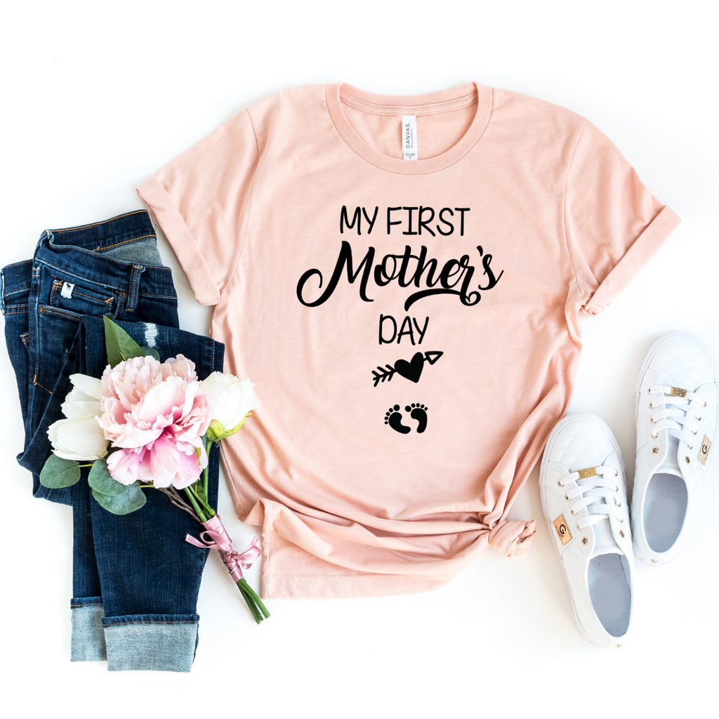 My First Mother Day Arrow Shirt First Mothers Day Shirt Mom to be Pregnancy Shirt Baby Shower Gift Pregnancy and Mommy to be Outfits, Heather Peach