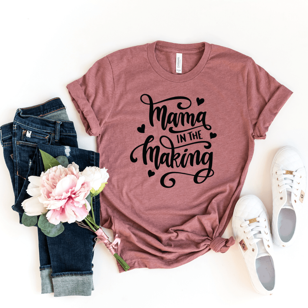 Mommy in the Making, Pregnancy Announcement, Pregnancy Reveal Shirt, Mama in the Making, Mom in the Making, Pregnant Mom To Be Shirt, Mama To Be, Maternity Tee, Preggers Top, Gift for Her, Pregnancy Gift, Motherhood, Heather Mauve