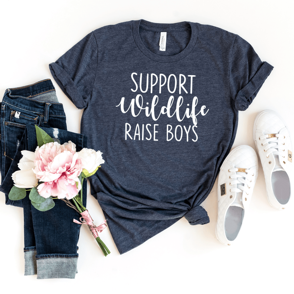 Support Wildlife Raise Boys, Mom Shirt, Mom T-shirt, Funny Mom Shirt, Mommy Shirt, Mom Gift, Boy, Mom Shirt with Saying, Mom, Funny Mom Gift, Parent Shirt, gift for wife, mothers day gift, Heather Navy