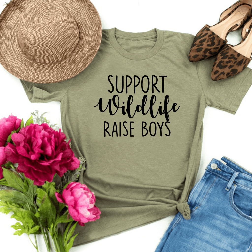 Support Wildlife Raise Boys, Mom Shirt, Mom T-shirt, Funny Mom Shirt, Mommy Shirt, Mom Gift, Boy, Mom Shirt with Saying, Mom, Funny Mom Gift, Parent Shirt, gift for wife, mothers day gift, Heather Olive