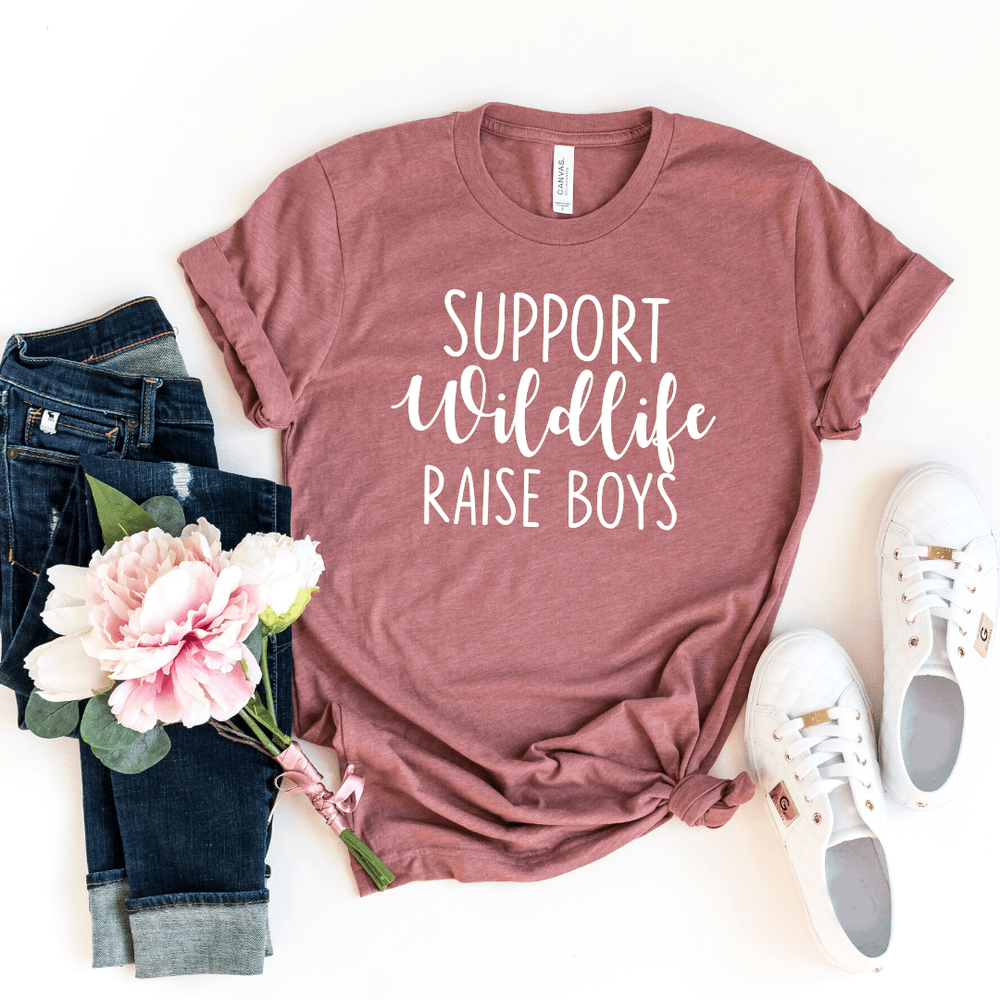 Support Wildlife Raise Boys, Mom Shirt, Mom T-shirt, Funny Mom Shirt, Mommy Shirt, Mom Gift, Boy, Mom Shirt with Saying, Mom, Funny Mom Gift, Parent Shirt, gift for wife, mothers day gift, Heather Mauve