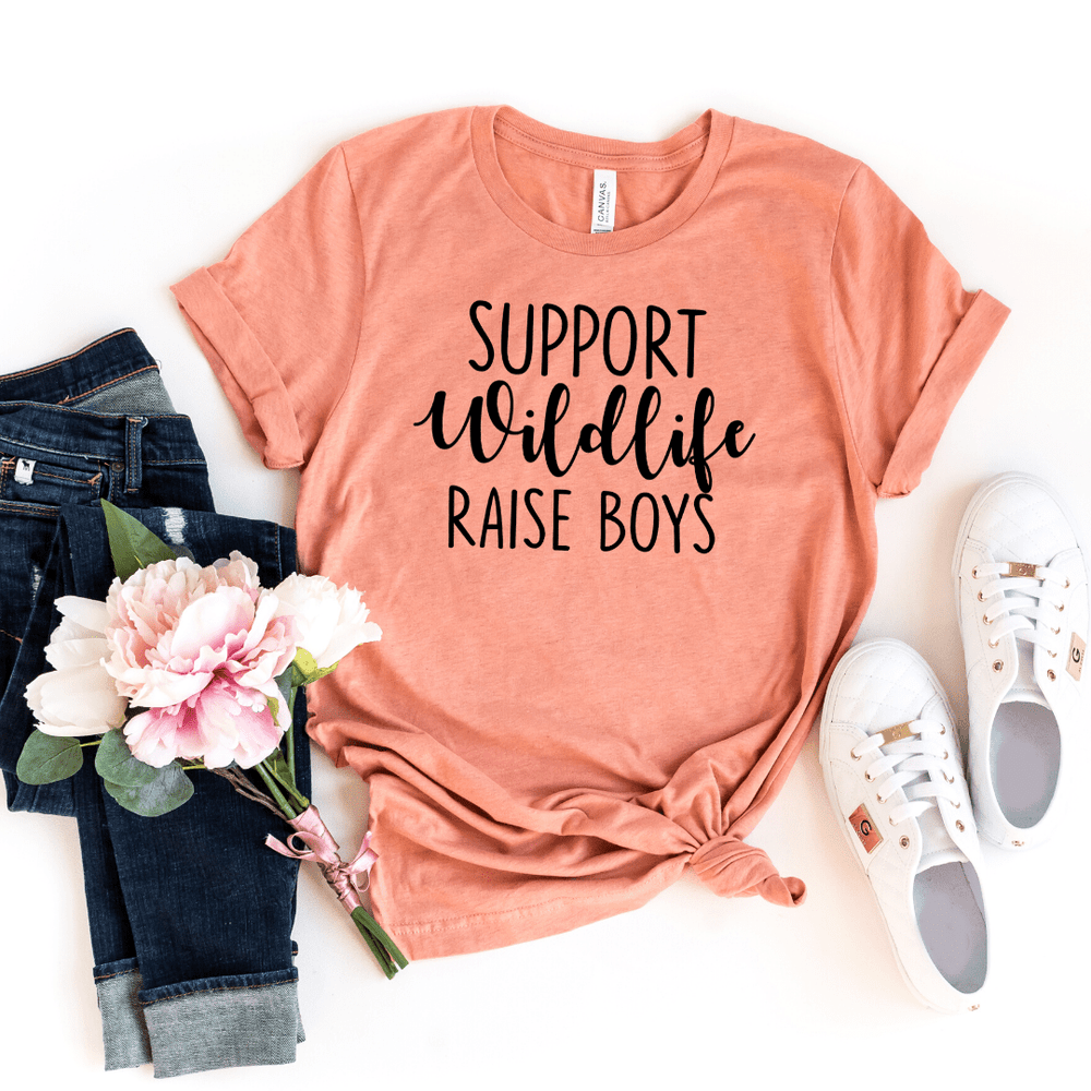Support Wildlife Raise Boys, Mom Shirt, Mom T-shirt, Funny Mom Shirt, Mommy Shirt, Mom Gift, Boy, Mom Shirt with Saying, Mom, Funny Mom Gift, Parent Shirt, gift for wife, mothers day gift, Heather Prism Sunset