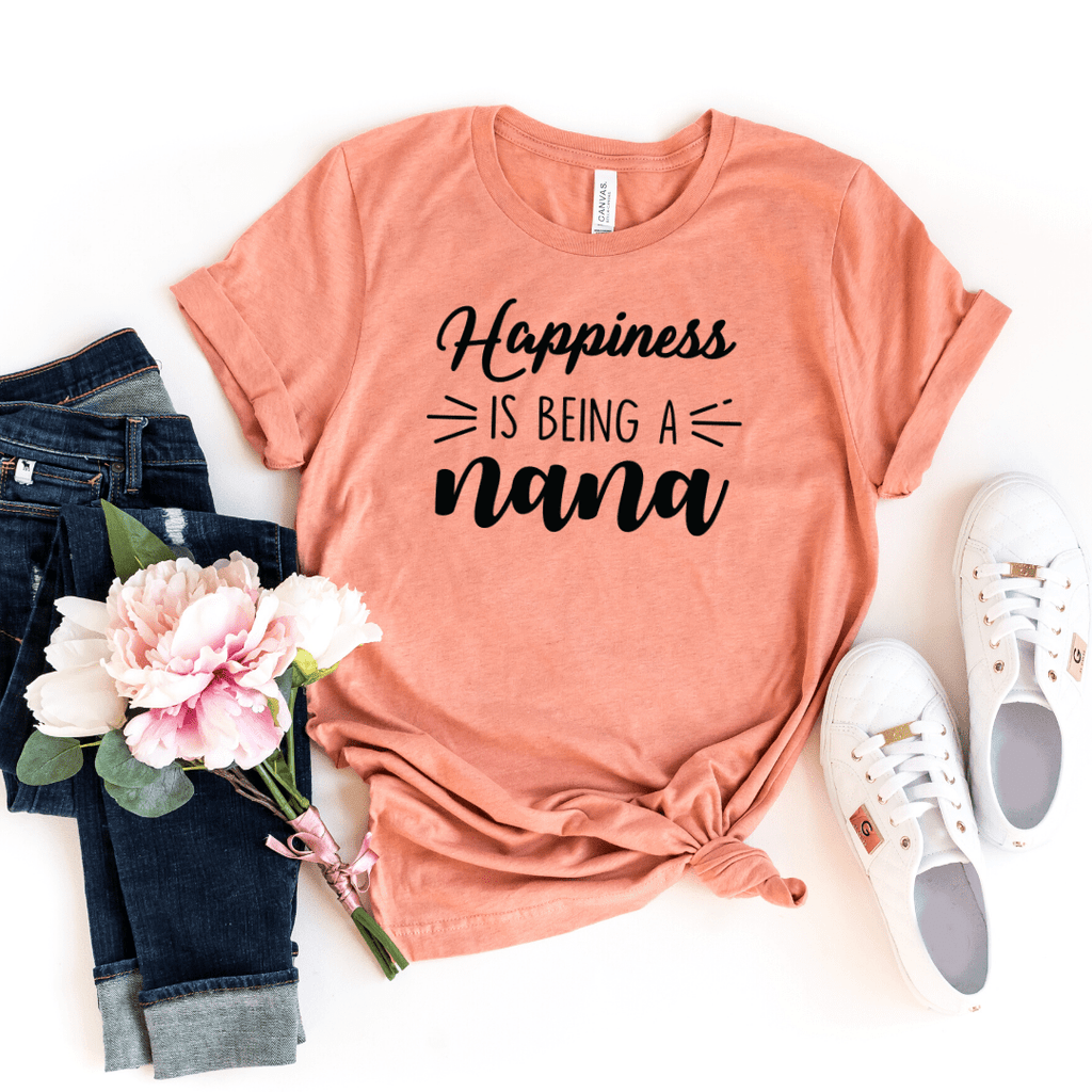Happiness Is Being a Nana Shirt, Christmas Gift for Nana, Nana Gift, Grandma Shirt, Mothers Day, Grandparent Gifts. Mom Christmas Gift, Tee for Women, Mimi Shirt, Gigi Shirt, Nana Shirt, Grandma Shirt, Mothers Day shirt, Heather Prism Sunset